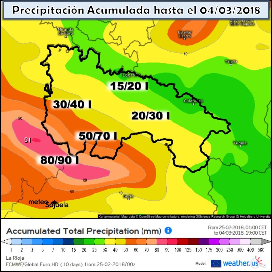 Precipitación acumulada semanal.Meteosojuela