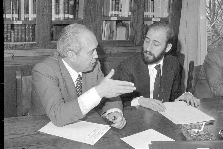 Álvaro Lapuerta y Javier Sáenz Cosculluela, en 1977. Foto Teo (Archivo Casa de la Imagen)