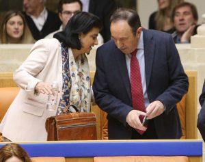 Concha Arruga y Pedro Sanz, durante el pleno del Parlamento del pasado jueves. Foto de Juan Marín