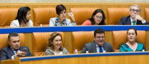 Escaños del Grupo Popular y del Gobierno, en el Parlamento riojano. Foto de Sonia Tercero