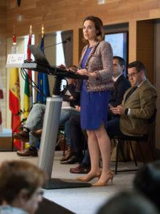 La alcaldesa de Logroño, durante su intervención del miércoles en Espacio Lagares. Foto de Díaz Uriel