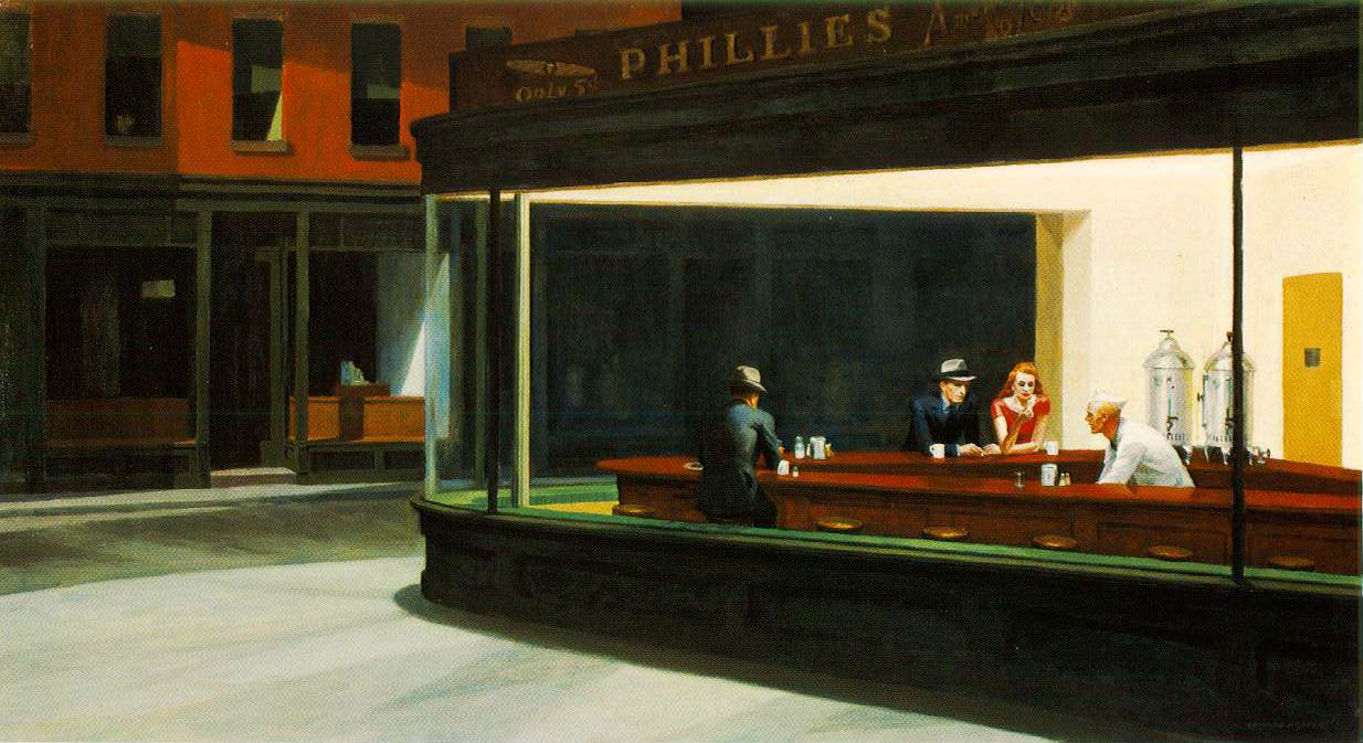 Nighthawks, 1942. Óleo sobre lienzo ( Chicago, Art Institute), obra de Edward Hopper