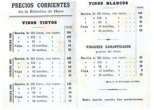Listado antiguo de precios de bodegas La Rioja Alta
