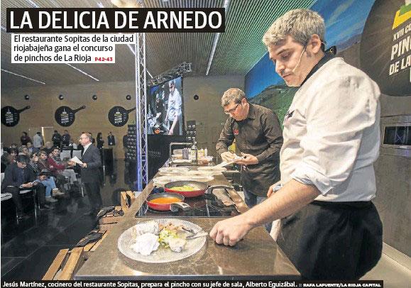 Portada de Diario LA RIOJA con la noticia del premio concedido el año pasado al Sopitas con su pincho Delicia de Arnedo.