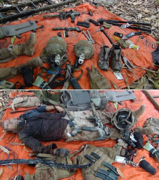Imágenes del cadáver del soldado francés junto a su armamento y equipo publicadas en twitter por el grupo islamista